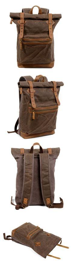 rucksacks-handmade-waxed-canvas-backpack-travel-backpack- Rucksack Backpack, Travel Backpack, Leather Backpack, Messenger Bag, Waxed Canvas, Canvas Leather, Cow Leather, Laptop Shoulder Bag, Briefcase For Men
