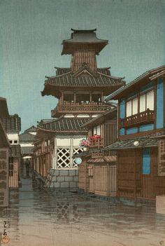 Kawase Hasui: Bell Tower in Okayama