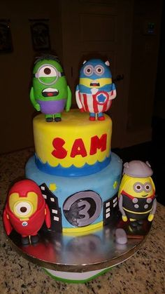 Minions super heroes cake Boys party ideas Pinterest Heroes