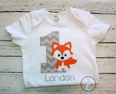 This fox birthday shirt is unique and can be easily customized by changing fabric or thread colors. Great for fox birthday themes, coordinating