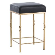 These elegant stools bring quiet sophistication to any bar with their sleek, brushed-satin brass frames and black top-grain leather seats with top-stitched seams. The knot detail on each leg clearly references a classic design motif.  Dimensions:  -Counter Stool: H: H: 24in W: 15in D: 15in -Barstool: 30.5in W: 15in D: 15in