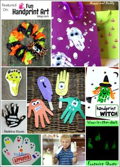 Halloween Handprint & Footprint Crafts.  LOVE doing these with the kids!