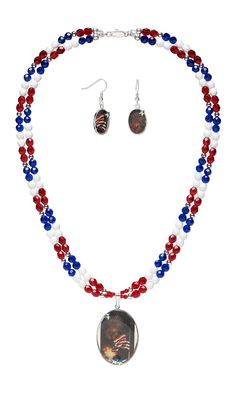 Jewelry Design - Two-Strand Necklace and Earring Set with Czech Fire-Polished Glass Beads, Celestial Crystal® Beads and Magic-Glos® - Fire Mountain Gems and Beads