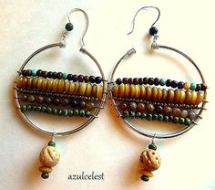 "Beaded 2"" Hoop Earrings, Five layers of gemstone, horn, carved tribal and Czech beads. Sundance Style, Silver hoops and ear wires."