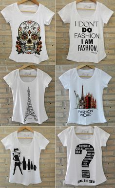 """t-shirt feminina"" [Note to self: also sent to A. Design T Shirt, Shirt Designs, Sweater Shirt, My T Shirt, Geile T-shirts, Moda Outfits, T Shirt Painting, T Shirts For Women, Clothes For Women"