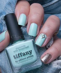 piCture pOlish 'Tiffany' mani art creation by Chit Chat Nails!  Buy on-line now: www.picturepolish.com.au