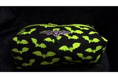 This cute bag is made with flying green bat fabric and centered is a silver filigree flying bat with a green sparkling bead to finish! $15.00 #rockabilly #psychobilly #gothic #bats #makeup #bag #purse #bat