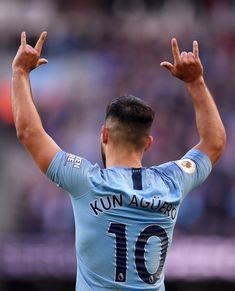 Sergio Aguero of Manchester City celebrates scoring during the Premier League match between Manchester City and Brighton & Hove Albion at Etihad Stadium on September 2018 in Manchester, United. Football Fans, Football Players, Manchester City Wallpaper, Sergio Aguero, Kun Aguero, Messi And Ronaldo, Brighton & Hove Albion, Good Soccer Players, City Boy