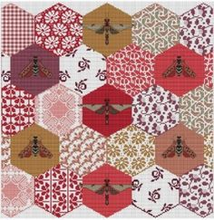 Quilted Bees is the title of this cross stitch pattern from Long Dog Samplers.