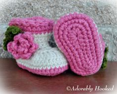 Crochet Baby Boots with Mini Rose by Adorably Hooked