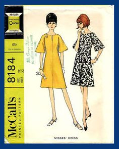 shift dress with bell sleeves McCalls 8184 Uncut vintage sewing pattern Bust 34 Mad Men retro mod era Waist 26 Hip 36 easy to sew by on Etsy Mccalls Sewing Patterns, Vintage Sewing Patterns, Dress Patterns, Costume Patterns, Clothing Patterns, Vintage Dresses 1960s, Vintage Outfits, Vintage Clothing, Vintage Hats