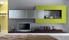 Modern Wall Unit SP-Composition 163 in wenge (dark brown veneer) finish with green lacquered front and frosted glass wall mounted unit. White, Orange, Red, Light Gray, Green, Plum or Magnolia high gloss or matte