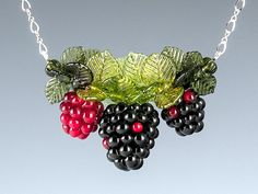 Blackberry Necklace w realistic blackberry glass lampwork beads and leaves on sterling silver chain. Fruit jewelry w glass art sculptures.