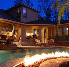 A Fire Pit IN THE POOL | 36 Things You Obviously Need In Your New Home