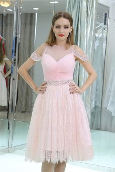 Allure Illusion Neckline Short Light Pink Lace Beaded Prom Dress Pink Party Dresses, Prom Dresses 2018, Prom Dresses For Sale, Formal Dresses, Beaded Prom Dress, Beaded Lace, Illusion Neckline, Pink Lace, Gowns