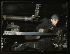 A young worker at the C & NW RR 40th Street shops, Chicago, Illinois, 1942.