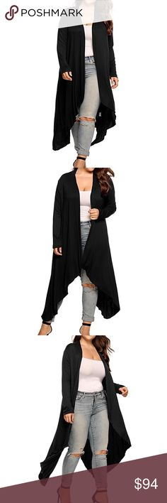 Open Drape Front Long Maxi Cardigan Plus Black ❌ Sorry, no trades.  558484  loose fit cable waffle knit slouchy oversized long cardigan sweater  fairlygirly fairlygirly Sweaters Cardigans