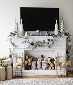 Christmas decorating around a tv.