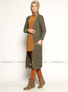 Long Cardigan - Khaki - Seyhan Fashion