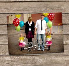 Christmas Card : Happy Holidays Simple Caligraphy Custom Photo Holiday Card. $15.00, via Etsy.