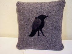 A small shop with pillows,wall hangings and framed art made from recycled woolen sweaters and blankets as well as nature-inspired linocut prints. Linocut Prints, Wool Blanket, Raven, Framed Art, Pillows, Grey, Inspiration, Design, Fleece Blanket Edging