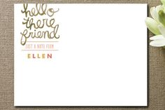 Hello There Friend Personalized Stationery by Moglea at minted.com
