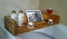 Rustic wooden bathroom caddy, bath shelf, tablet stand, book, wine glass | eBay