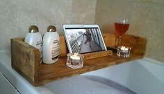 Rustic wooden bathroom caddy, bath shelf, tablet stand, book, wine glass | eBay