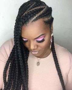 Zig zag lemonade braids goddess braids in Box Braids Hairstyles, Lemonade Braids Hairstyles, Braided Ponytail Hairstyles, Braided Hairstyles For Black Women, African Hairstyles, Black Hairstyles, 2 Cornrow Braids, Flat Twist Hairstyles, Natural Braided Hairstyles