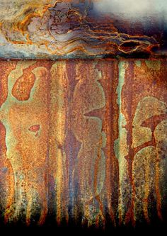 """Abstract digital image collage of weathered and rusty metal surfaces. """"Buffalo Spirit"""" by LuAnn Ostergaard"""