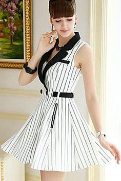 Tailor Collar Elegant Sleeveless Dress