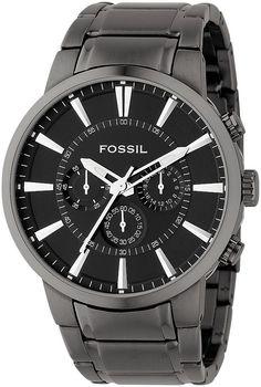 Fossil Men's FS4358 Black Stainless Steel Bracelet Black Analog Dial Chronograph Watch < $106.90 > Fossil Watch Men
