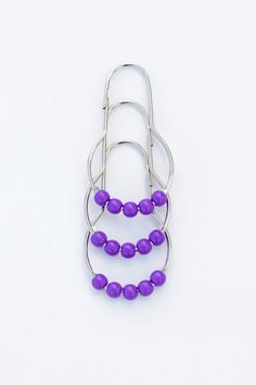 "Amazon.com - Shower Curtain Rings - Set of 12 Stainless Steel, Polished and Finished Hooks. Each Hook contains 5 colorful roller ball ""DOTZ"". (Purple DOTZ) -"