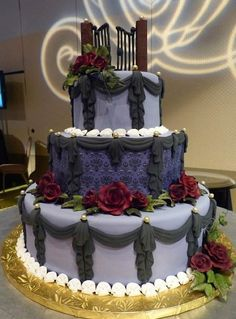 Haunted Mansion Cake!  Love the wallpaper pattern on the middle tier, and the beautiful draping!!!  Cake Wrecks - Home - Sunday Sweets: GothicElegance