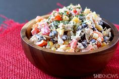 Tex Mex chicken salad.  I would replace the mayonnaise with low-fat ranch dressing or greek yogurt.