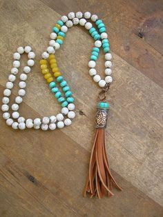 Beachy tassel necklace Summer Festival boho by 3DivasStudio