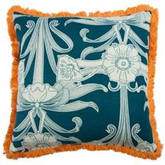 My Island Home - Fringed Floral Cushion Cover - orange