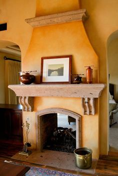 Spanish style homes – Mediterranean Home Decor Adobe Fireplace, Stucco Fireplace, Brick Fireplace Makeover, Fireplace Surrounds, Fireplace Design, Fireplace Ideas, Mantle Ideas, Bedroom Fireplace, Fireplace Mantel