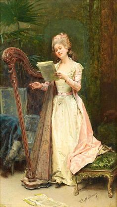 books0977:  The Harpist.Raimundo de Madrazo y Garreta (Spanish, Realism, 1841-1920). De Madrazo y Garreta studied at the École des Beaux-Arts under Léon Cogniet. His remarkable technical ability made him a highly successful portrait and genre painter in a Salon style. As an artist of international standing he commanded premium prices for his work. His 2K fee for painting Secretary Root from life moved the scale for official portraits beyond the traditional modest progressions and into 20th…