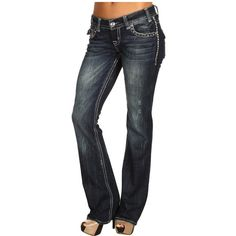 Rock N Roll Cowgirl Low-Rise Boot Cut Jeans Embellished Pocket ❤ liked on Polyvore