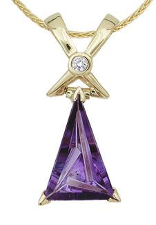 TRANQUIL PENDANT - Mark Schneider; Munsteiner trillion amethyst set in 14k yellow gold with a 0.05ct diamond.