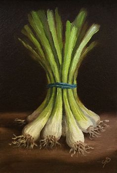Spring Onions, Original Oil Painting still life by Jane Palmer by JanePalmerArt on Etsy