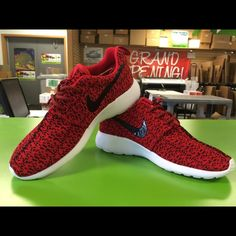 Custom Nike Roshe Run Yeezy 350 Boost October Red Women's size 8.5 – no returns – no trades – this one just in great! Only by special order otherwise! Nike Shoes Sneakers