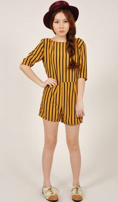 BARDOT STRIPE SHORTS ROMPER - YELLOW