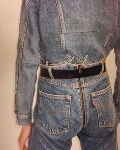 Bum buttock back zip jeans denim