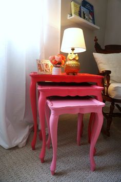 Pink Ombre Nesting Tables in Nursery - great budget nursery ideas!
