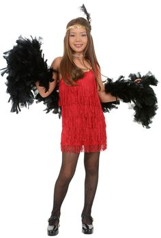 1920 Flapper Girl Costume | Tween Fierce Flapper Costume Red
