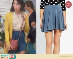 wornontvnet:  April's blue skirt on Parks & Rec: Knit circle skirt by Pins and Needles at Urban Outfitters, $32 April's bag is also from Urban Outfitters but it has sold out :( See this outfit at WornOnTV.net