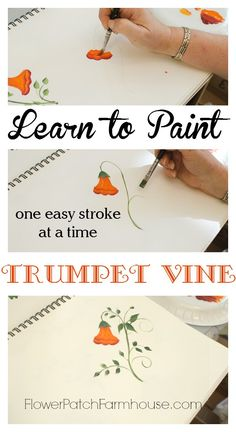 Come learn how to paint beautiful Trumpet Vine. So easy and FREE painting lesson with video! Painting Lessons, Painting Tips, Painting Techniques, Art Lessons, Painting Tutorials, One Stroke Painting, Tole Painting, Donna Dewberry Painting, Step By Step Painting