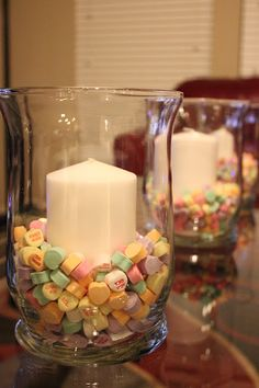 Cute Valentine's Day decor ... Easy... Jar + Conversation candy+Candles...